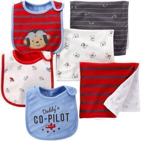 Child of Mine by Carter's Boy 6 Piece Set Bib and Burpcloth Set, Capt Adorable