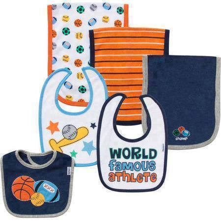 Gerber Terry Bibs & Burps, Famous World athlete, 6-Pack