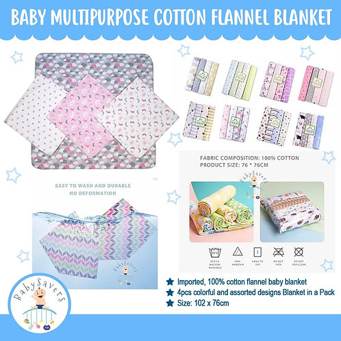 Baby Multipurpose Cotton Flannel Blanket - Boy or Girl