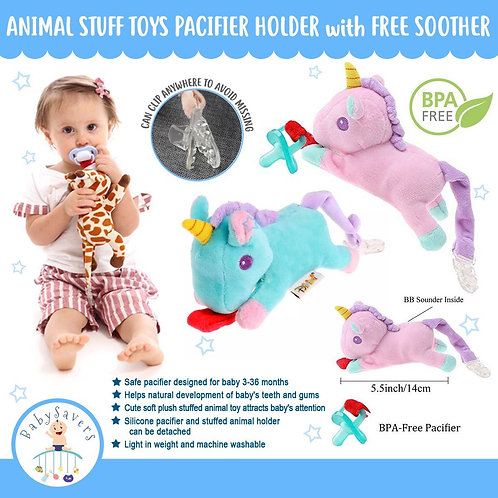Unicorn Pacifier holder with free soother