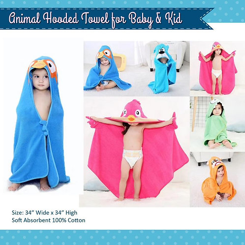 Animal Zoo Infant or Kids XL Hooded Towel
