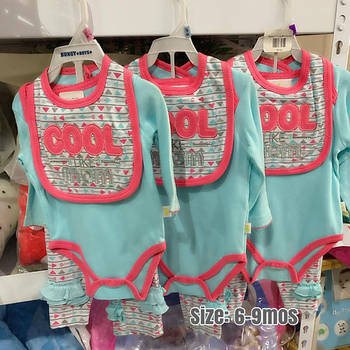 Infant girl 3pcs/set bodysuit set 6-9mos