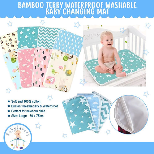 Bamboo terry waterproof washable baby changing mat