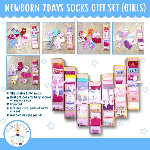 Newborn infant 7days socks collection gift set- random Girl