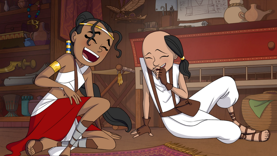 Maila and Orion laughing.png