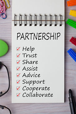 Partnership with keywords written on not