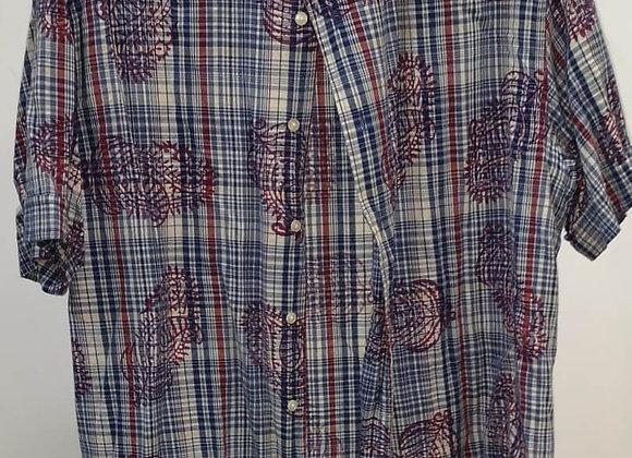 Camisa Quadrados Padrão Manga Curta