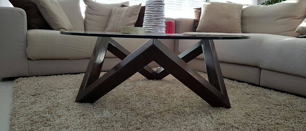 שולחן סלון זכוכית עם רגל מעץ אורן מלא