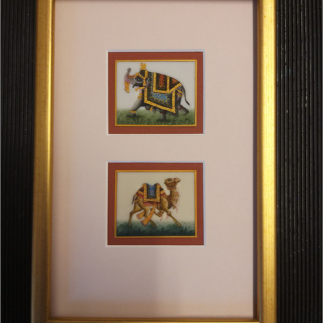 Miniature paintings on card, double mounted in conservation mounts