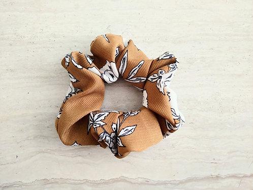 Floral Tan Scrunchie
