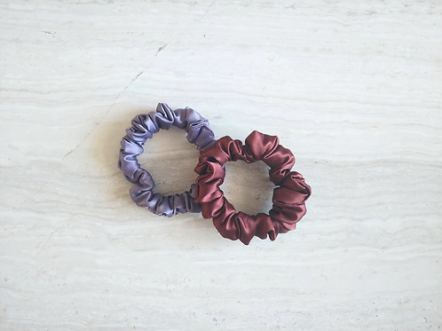 Set of 3 Satin Scrunchies (Mini)    Assorted Colors
