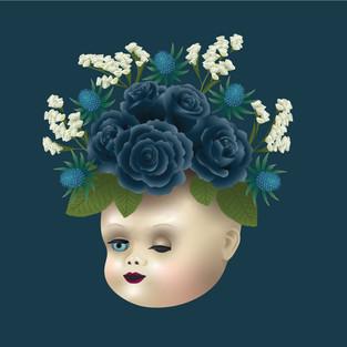 Black Roses Doll Head