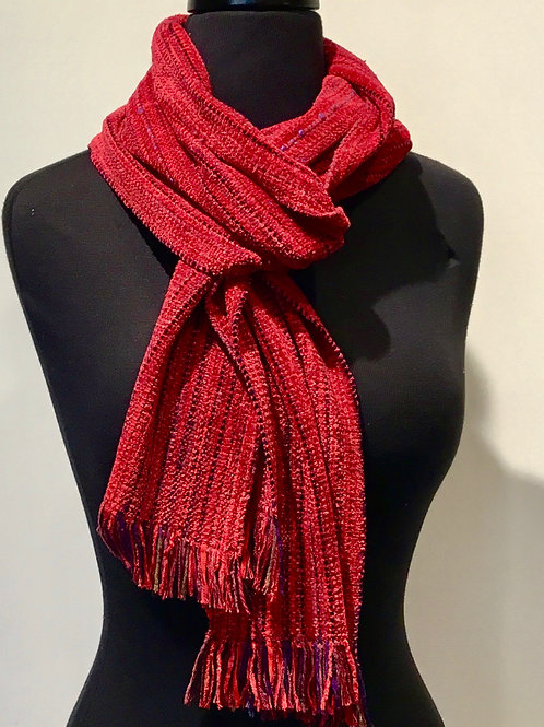 Hand woven  chenille scarf