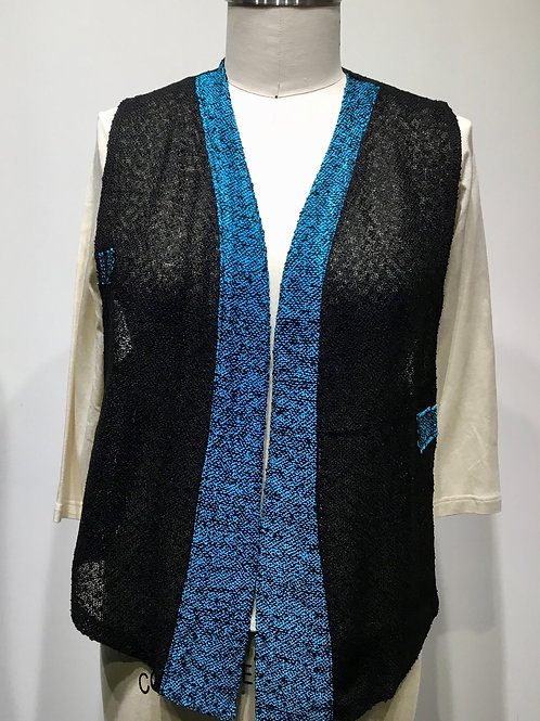Handwoven and hand made vest, black and turquoise.