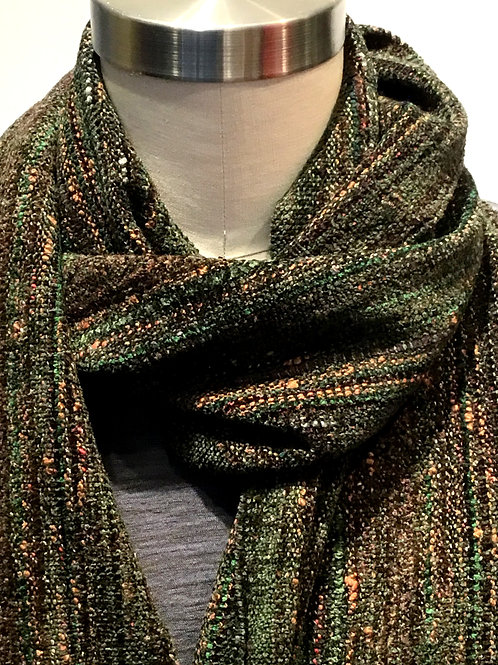 Hand woven loden green with brown highlights chenille scarf by Dahlia