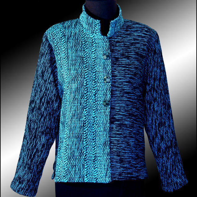 Handwoven Mandarin Jacket. Woven in cotton and bamboo. Limited Edition. Special Order.