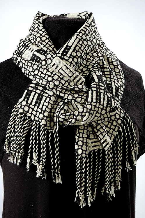 MY 57 Black and white handwoven scarf by Muffy Young