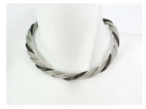 EZA01   2 tone twisted necklace by Erica Zap