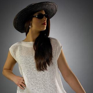 Handwoven cap sleeve top.