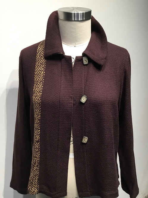 Hand woven and hand made short jacket, brown.
