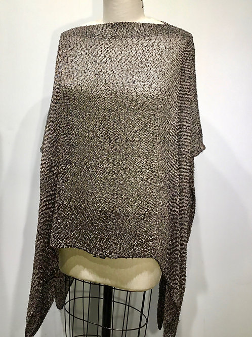 Hand woven cape taupe and black tweed.