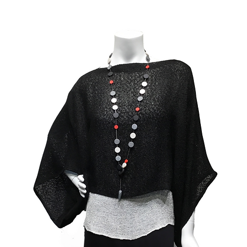 Black handwoven Sweater with white cap sleeve top Klara Borbas necklace
