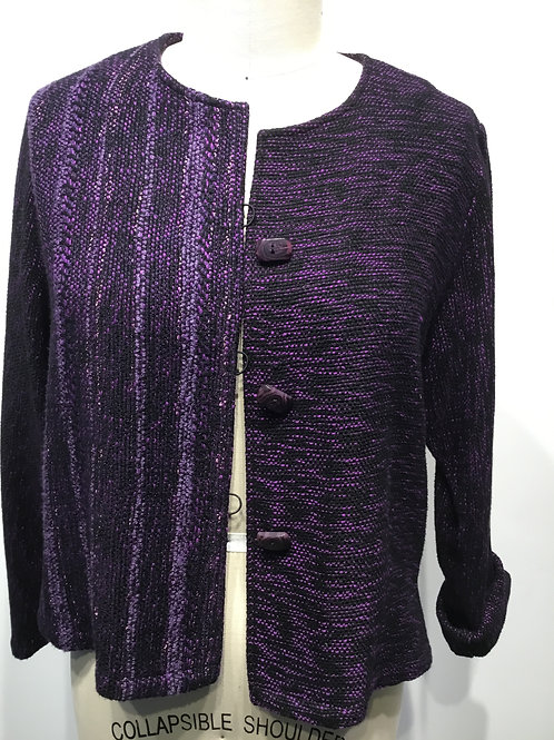 Hand woven and hand made short jacket, purple.