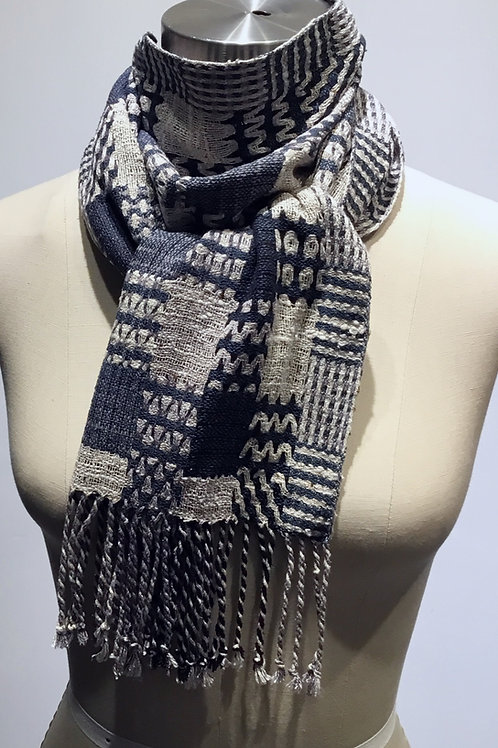 Patterns and Rectangles hand woven scarf by Muffy Young