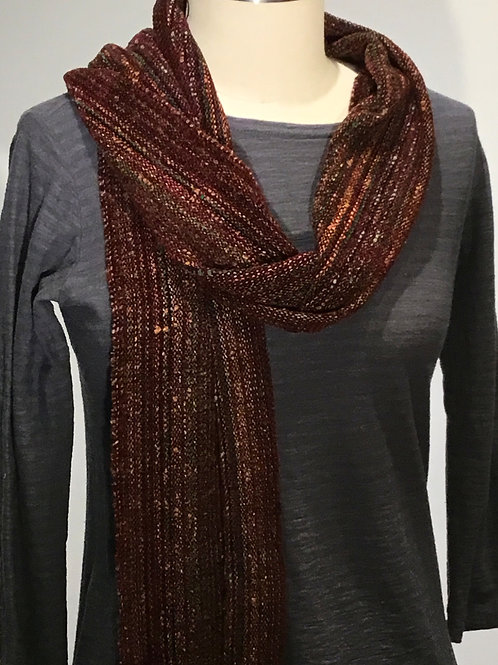 Handwoven Brown Rayon Chenille Scarf by Dahlia