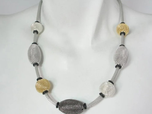 EZ10 Mesh necklace with spaced beads by Erica Zap