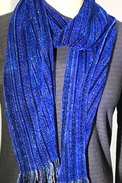 Handwoven Royal Blue Chenille Scarf by Dahlia
