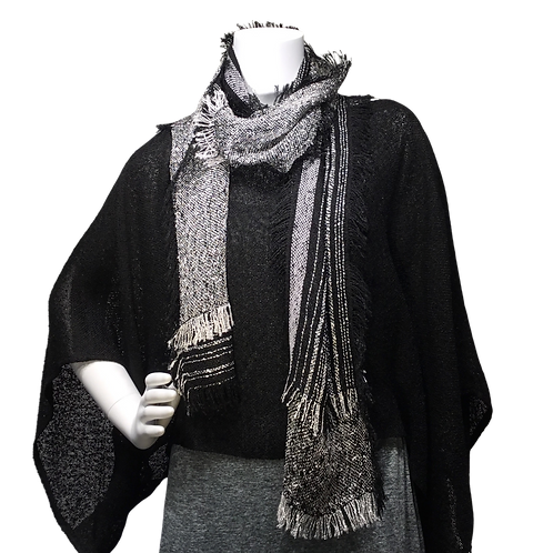 Black Handwoven Sweater with black and white Lisa Scarf