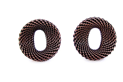 EZN05. Small Contoured Oval Mesh Earrings by Erica Zap