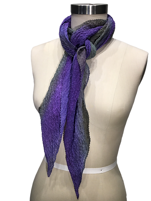 Hand pleated and hand dyed silk scarf by Leni Hoch