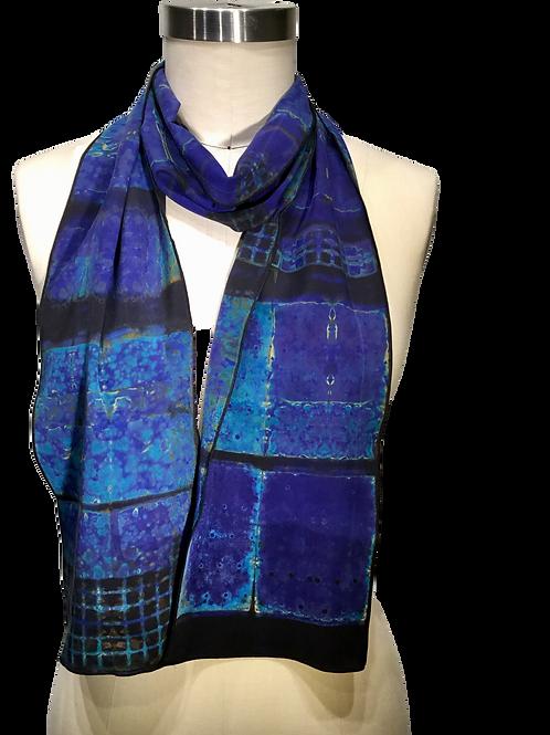 Blue/purple/black/yellow-rust hand dyed shibori scarf by Betsy Giberson