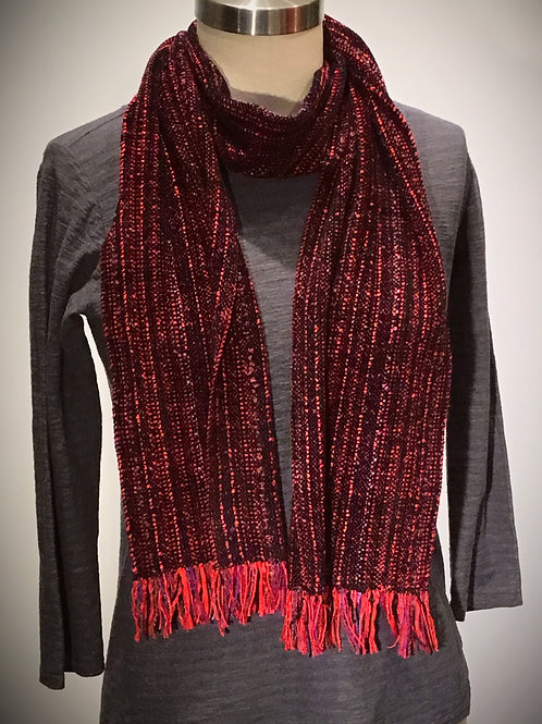 Handwoven black and red chenille scarf by Dahlia