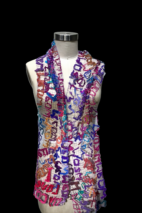 """Purples and Blue Cat """"Words"""" scarf/wrap by Ann Lee"""