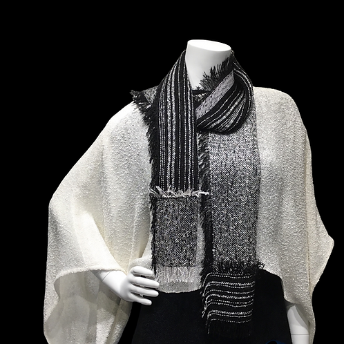 White handwoven sweater with black and white Lisa Scarf