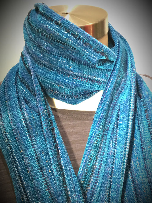 Hand woven light turquoise rayon chenille scarf by Dahlia
