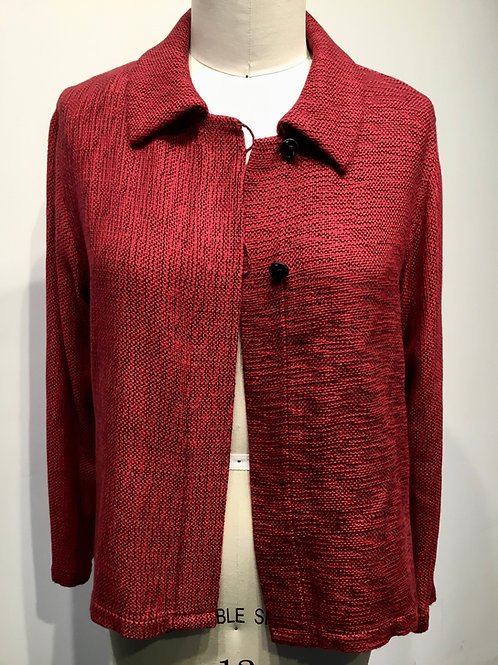 Hand woven and hand made short jacket.  Red and black