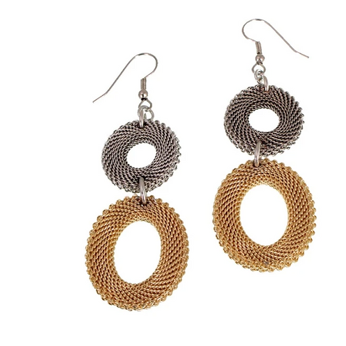 EZA 02. Double drop mesh earrings by Erica Zap