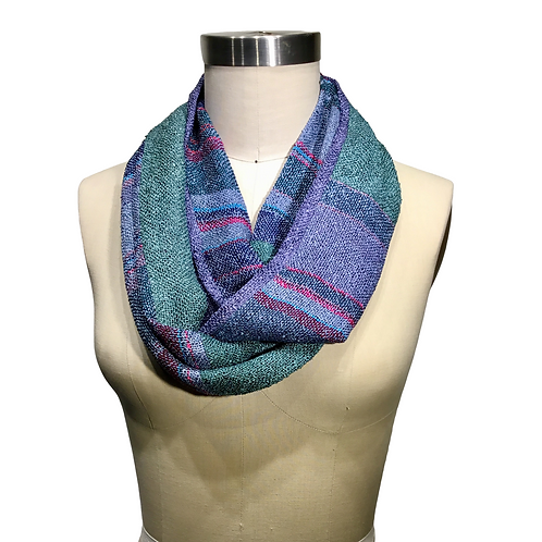 Handwoven Infinity Scarf Double Loop.  One of a Kind Wearable Art