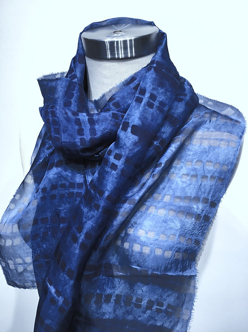 SW03 Hand dyed shibori silk scarf by Suzanne Watzman