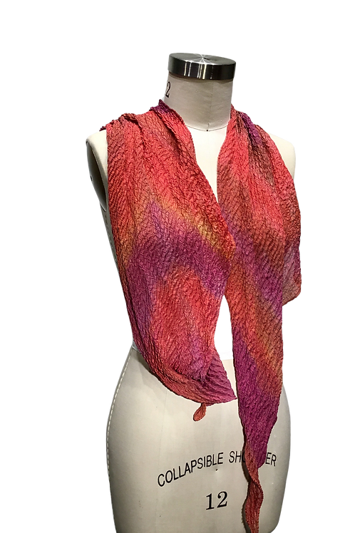 Pleated and hand dyed scarf by Leni Hoch