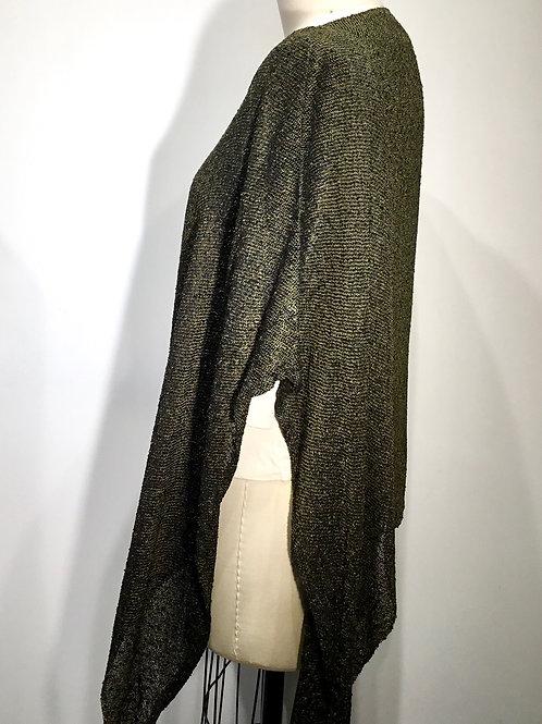 Hand woven cape, moss green/black tweed