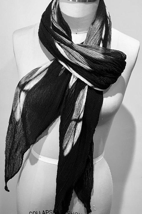 Laura Hunter Shibori black and white silk scarf