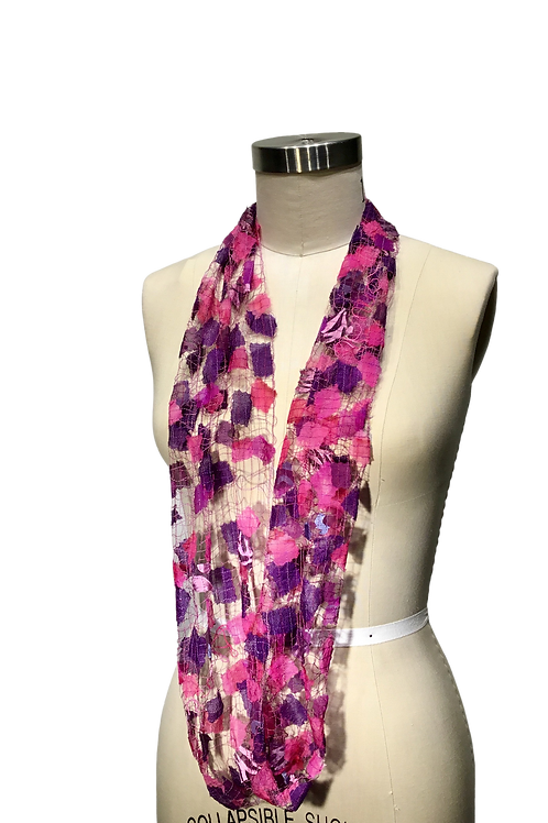 Pinks and purples Infinity Scarf thread lace scarf by Ann Lee