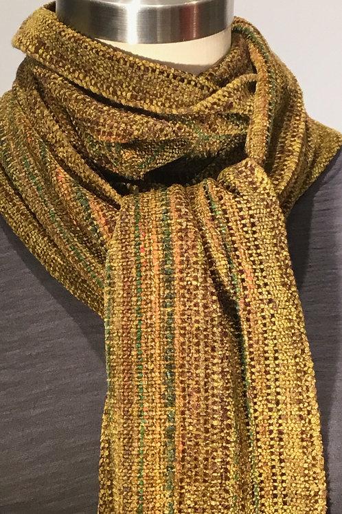 Handwoven golden green chenille scarf by Dahlia