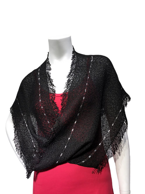 Black with black and white ribbon handwoven Mobius Wrap