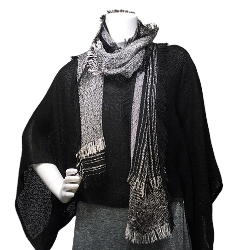 Black and White handwoven Lisa Scarf